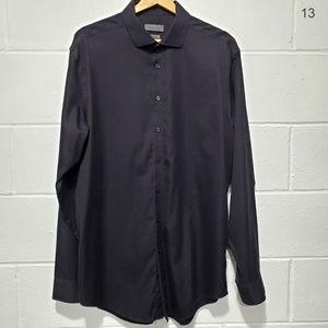 Calvin Klein Slim Fit Black Dress Shirt Sz 17 1/2